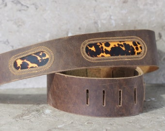 Rustic Brown Leather Guitar Strap with Tortoiseshell Celluloid Inserts