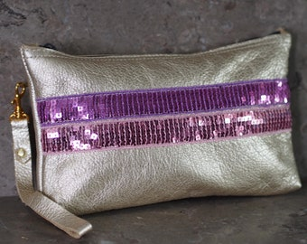 Sequin Ribbons on Gold Leather Zip Pouch Wristlet