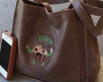 SALE!  Zombie Bran Muffin Embroidered Leather Lunch Tote