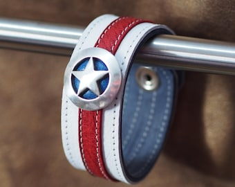 Captain America inspired leather wrist cuff--narrow white