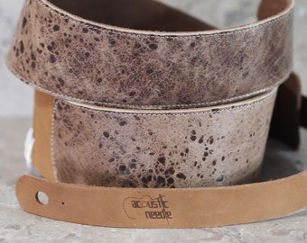 Leather Guitar Strap--Mottled Brown Sheepskin over Brown Cowhide