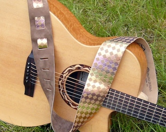 Sunset and Brown Checkered Leather Guitar Strap