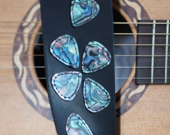Real Guitar Picks on Black Leather Guitar Strap