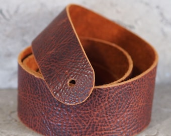 Whiskey Brown Bison Hide Leather Guitar Strap