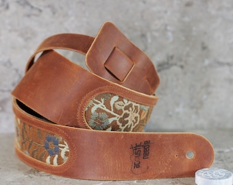 Brown Leather Guitar Strap with Woven Floral Fabric Inset V2