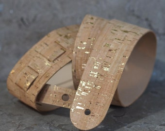 Real Cork with gold accents on Genuine Leather Guitar Strap