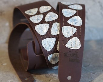 Real Guitar Picks on Brown Leather Guitar Strap