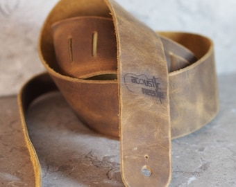 Distressed Brown Leather Guitar Strap