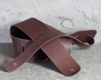 Chocolate Brown Leather Guitar Strap--back in stock!