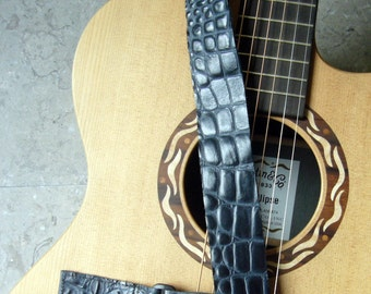Navy Embossed Crocodile Leather Straps for Ukuleles or Small Guitars