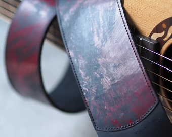 Ox-blood Red and Black Leather Guitar Strap