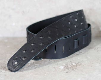 Black Pyramid Embossed Leather Guitar Strap