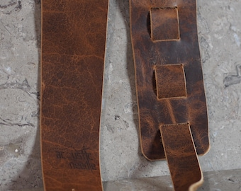 Distressed Brown Bison Leather Guitar Strap