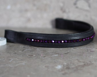 Black Leather Dressage Show Brow Band with Faceted Purple Beads