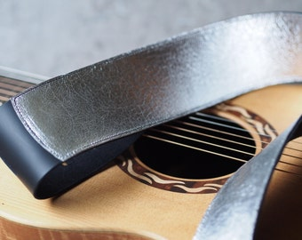 Aluminum Foil look Leather Guitar Strap