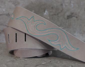 Western Scroll Stitch Grey Leather Guitar Strap