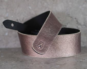 Copper and Black Leather Guitar Strap