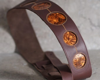 Brown Leather Guitar Strap with Celluiod Port Holes
