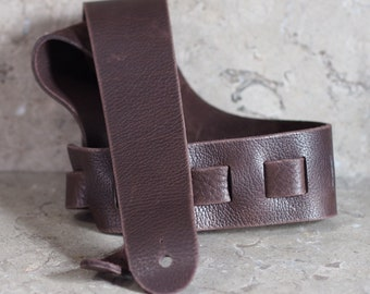 Dark Brown Bull Hide Leather Guitar Strap