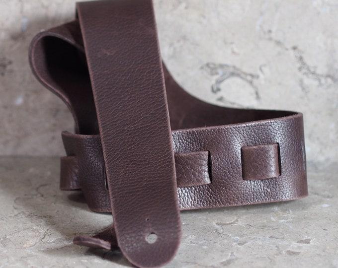 Dark Brown Bull Hide Leather Guitar Strap