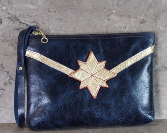 Captain Marvel inspired Gold Star and Band on Blue Leather Wristlet Pouch