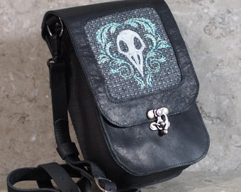 Bird Skull Embroidered wool in Black Leather Purse