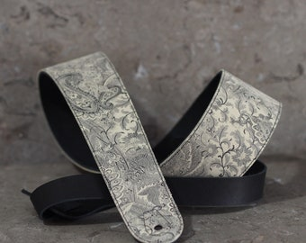 Paisley floral on Black Leather Guitar Strap