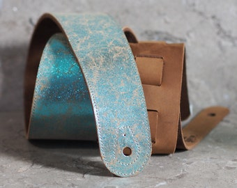 Blue Crackle Glitter over Brown Leather Guitar Strap