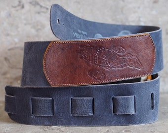 Serenity Embossed on Blue Leather Guitar Strap