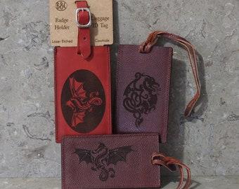 Dragon Leather Luggage ID Badge Holder