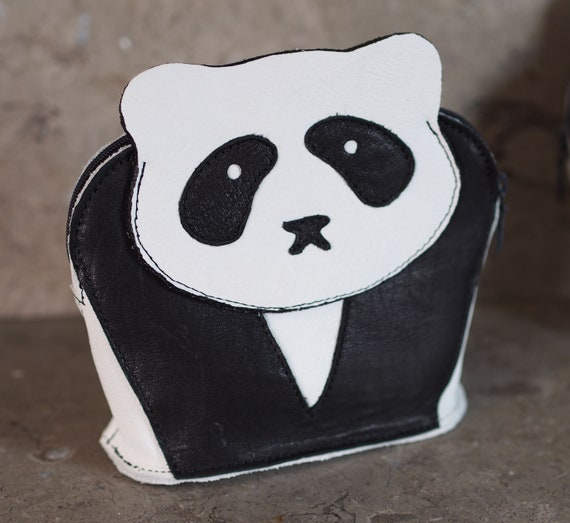 Panda Pouch -- Lambskin or Suede on Cowhide Coin Pouch
