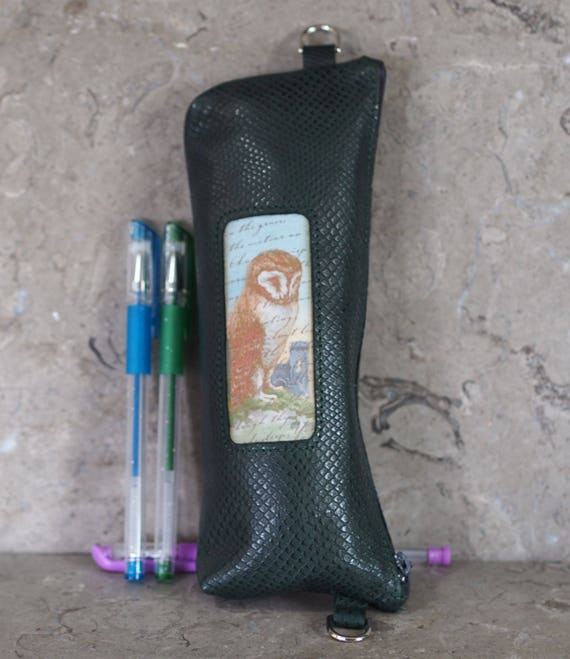 wise owl leather pencil or needle case