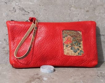 Red Bison Leather with Asian Floral Print Inset Zip Pouch Wristlet