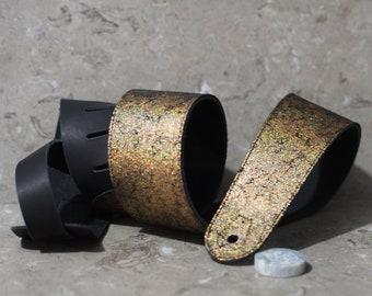 Leather Guitar Strap--Gold Crackle Glittery Foil on Black over Black