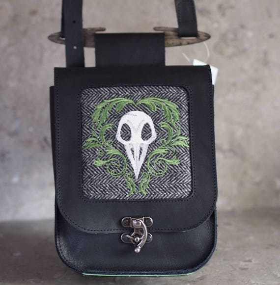 Leather & Wool Satchel with Bird Skull Embroidery