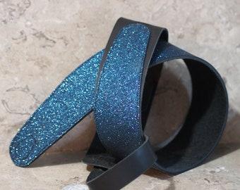 Blue-Black Glitter Leather Guitar Strap