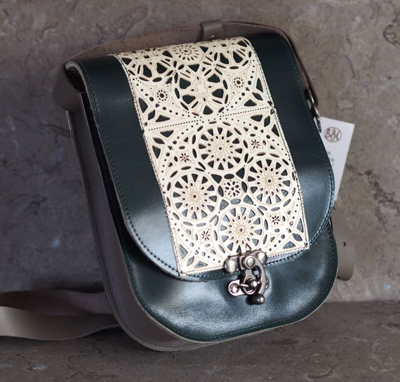 green & grey leather satchel with leather lace overlay