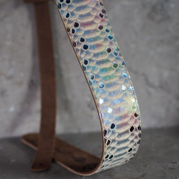 Spring Rainbow Scales Leather Guitar Strap