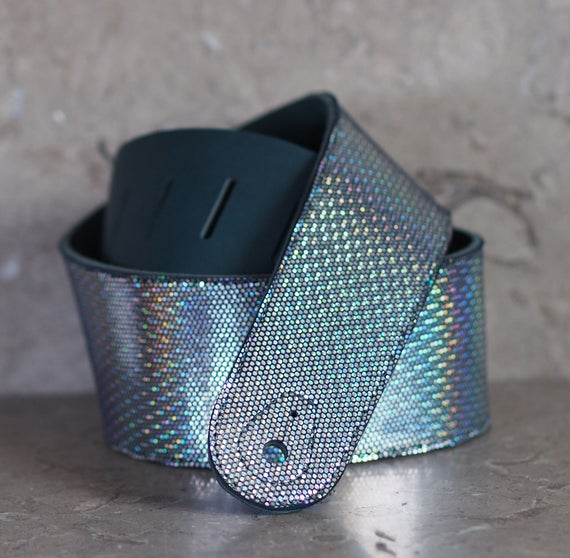 Iridescent Leather Guitar Strap