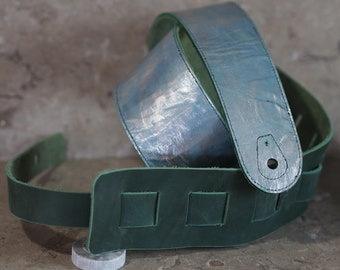 Silverfish Green Leather Guitar Strap