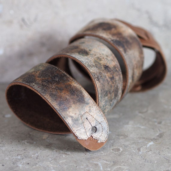 post apocalypse industrial punk brown leather guitar strap