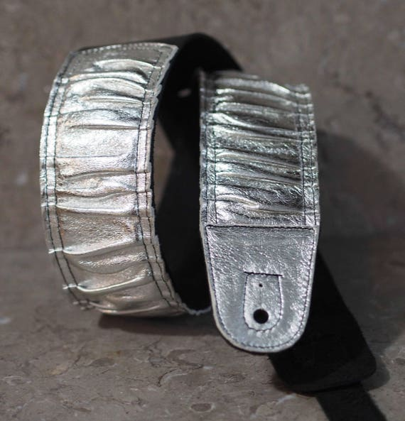 Pleated AL Foil and Black Leather Guitar Strap