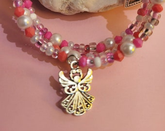 Pink Cuff Bracelet with Angel and Heart Charms, Memory Wire Bangle, Favorite Color Pink