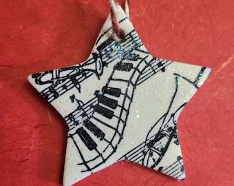 Music Star Christmas Tree Decoration, Christmas Ornament, Musician Gift
