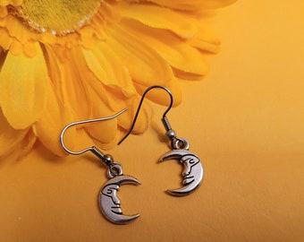 Crescent Moon Earrings, Silver Moon Charm Earrings, Lunar Jewelry