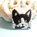 Cat Pendant or Necklace, Tuxedo Cat Black and White, Kitty Face Jewelry