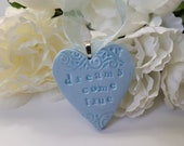 Dreams Come True Wedding Bouquet Charm, Handmade Heart Charm for Bride, Something Blue