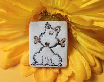 Cute Dog Pin, Dog Lovers Gift, Pet Mom Gift, Beige or White, Pup with Bone