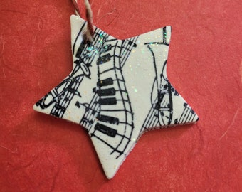 Sparkly Music Star Christmas Ornament, Musician Gift, Piano Teacher Gift