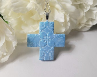 Christian Cross Pendant Necklace Ornament, Confirmation Gift, Floral Jewelry, Light Blue Jewelry